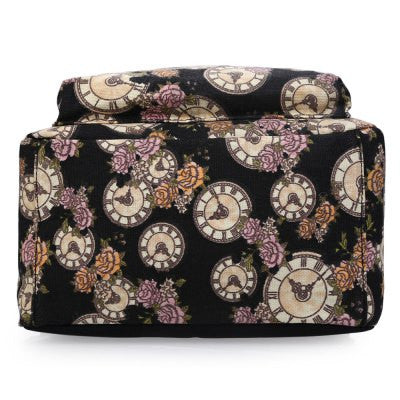 Clock Flower Print Pattern Zipper Canvas Backpack for Women - Hautify