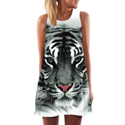 Crew Neck Collar Sleeveless Tiger Print Loose Mini Dress for Women