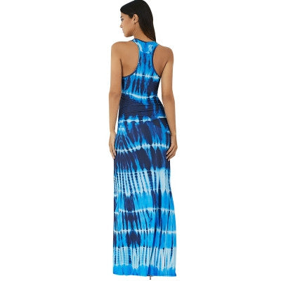 Boho Tie-Dye Illusion Print Racerback Sleeveless Maxi Dress - Hautify