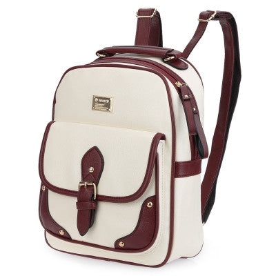 Color Block Zipper Ladder Lock Letter Portable Backpack for Women - Hautify