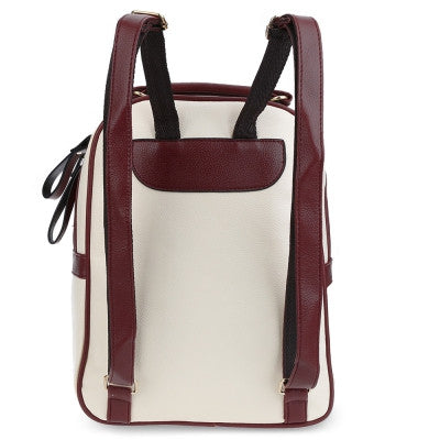 Color Block Zipper Ladder Lock Letter Portable Backpack for Women