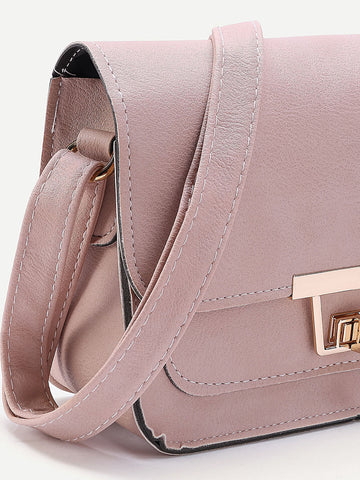 Womens Twist Lock Flap Crossbody Bag Pink