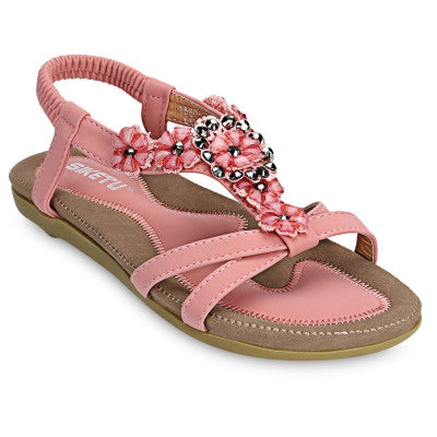 Beaded Slingback Womens Gladiator Sandals Pink - Hautify
