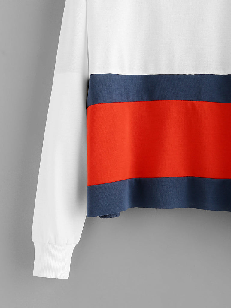 Round Neck Color Block Sweatshirt - Hautify