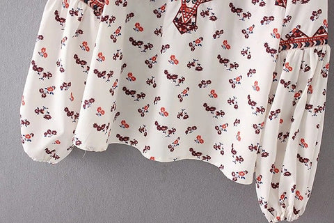 FLoral Print Long Bell Sleeved Chiffon Blouse for Women