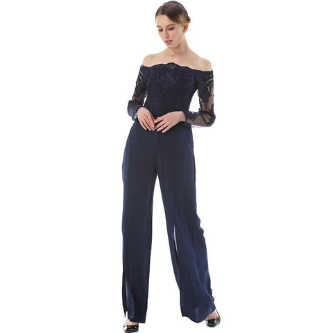Embroidered Off the Shoulder Solid Jumpsuit