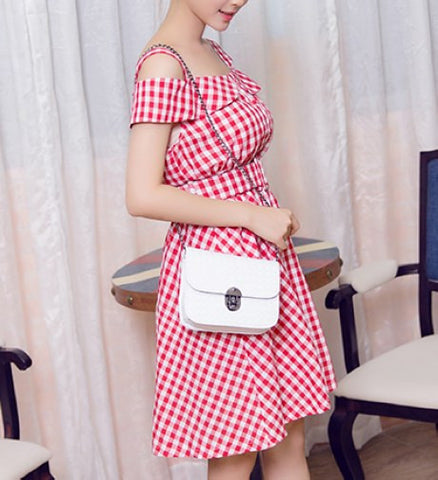 Plaid Preppy  Short Sleeve Less Strapless Dresses