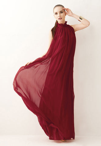 Turtleneck Solid Floor-Length Sleeveless Long Dress