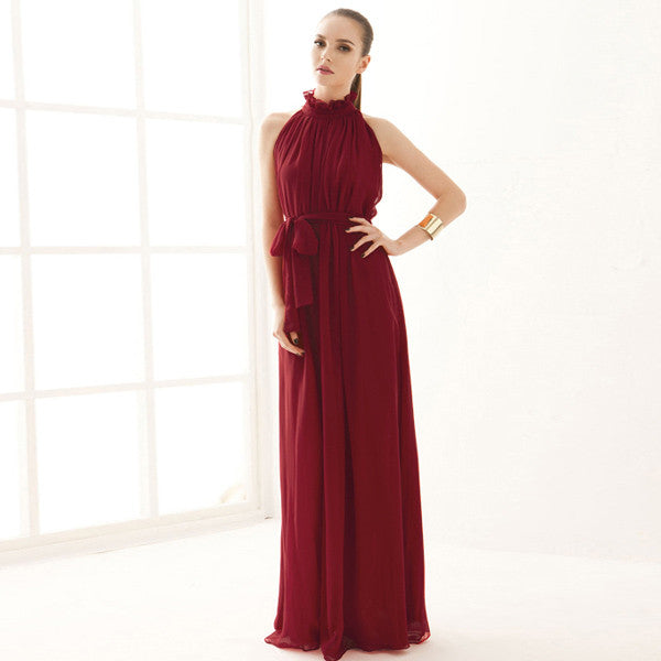 Turtleneck Solid Floor-Length Sleeveless Long Dress - Hautify
