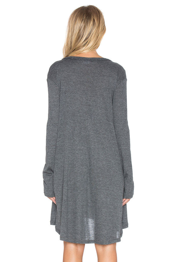 V  Neck Casual Winter Knitted Dress - Hautify