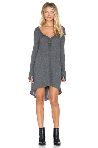 V  Neck Casual Winter Knitted Dress