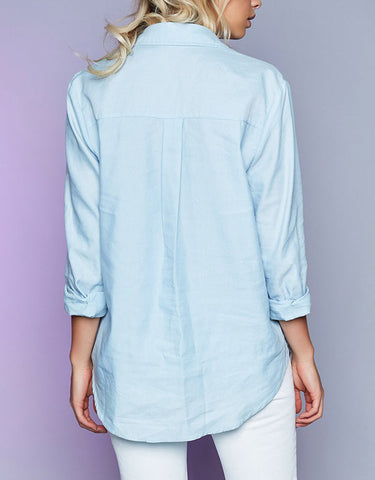 Long Sleeved Drawstring Bandage Womens Blouse Blue