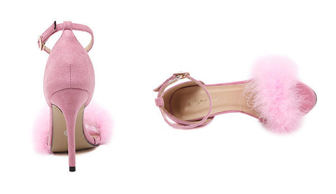 Fluffy Stiletto Sandals for Women