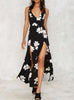 Haute V Neck Floral Slit Long Maxi Dress - Hautify