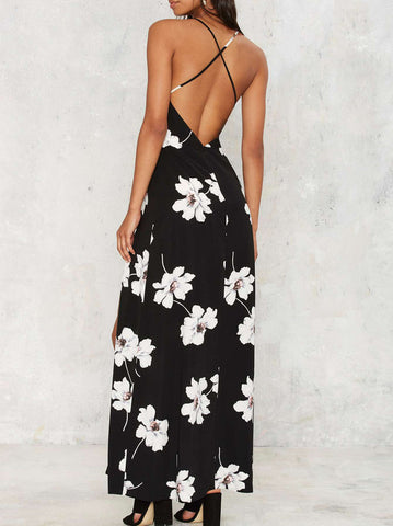 Haute V Neck Floral Slit Long Maxi Dress