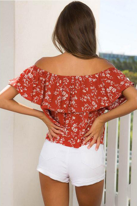 Chic Boat Neck Ruffle Blouse Top - Hautify
