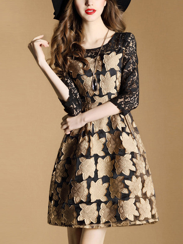 O Neck Floral Lace Patchwork Pretty Dresses