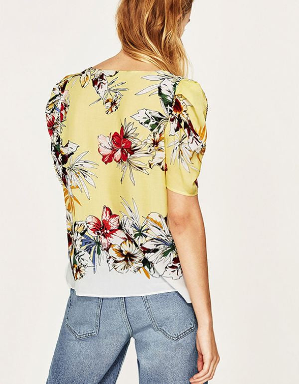 Flower V-neck Shirts - Hautify