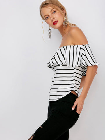 Striped New Boat Neck Ruffle Blouse Top