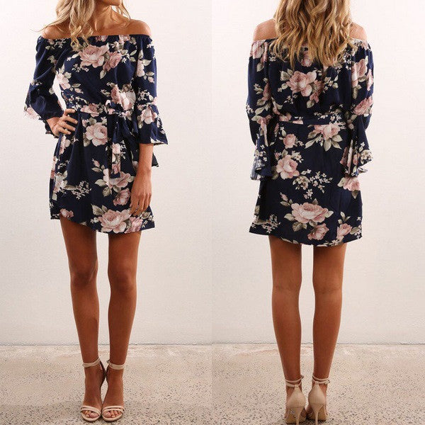 Off Shoulder Floral Print Wrap Tie Mini Dress