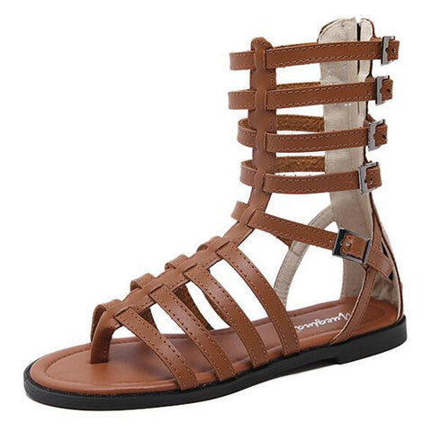 Roman Hollow Out Flat Gladiator Sandal Boots