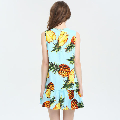Summer Fruit Prints Sleeveless Dress