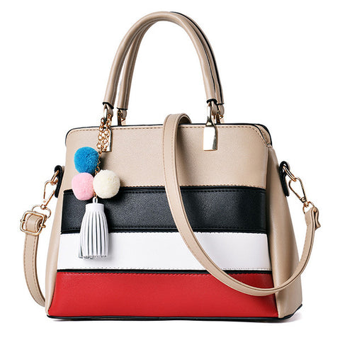 Fashion simple Color Contrast hand Bag