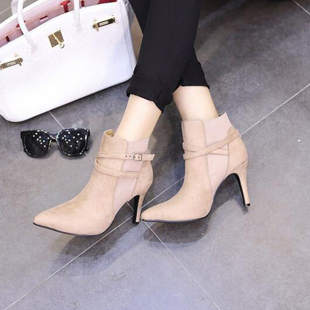 Buckled Suede Stiletto Booties - Hautify