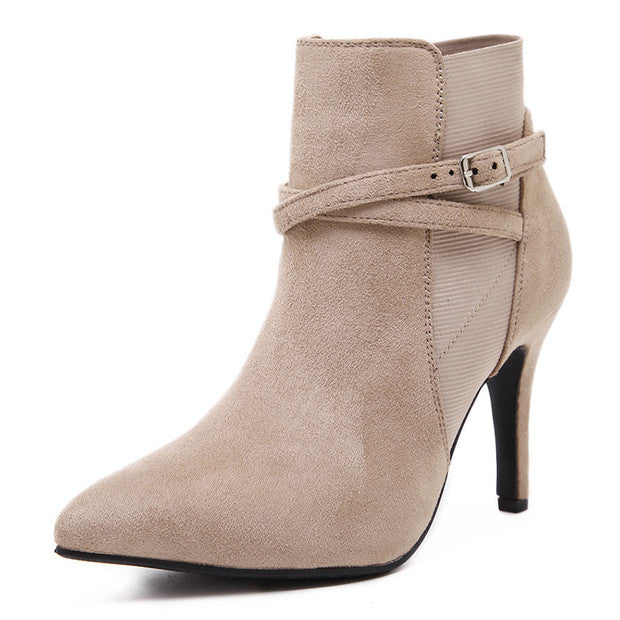 Buckled Suede Stiletto Booties