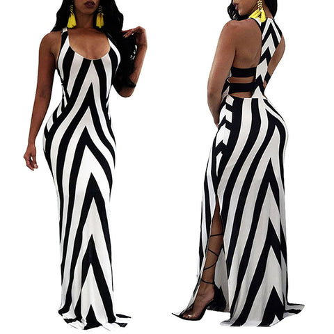 Round Neck Backless  Striped Beach Dress - Hautify
