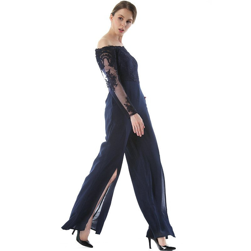 Embroidered Off the Shoulder Solid Jumpsuit - Hautify