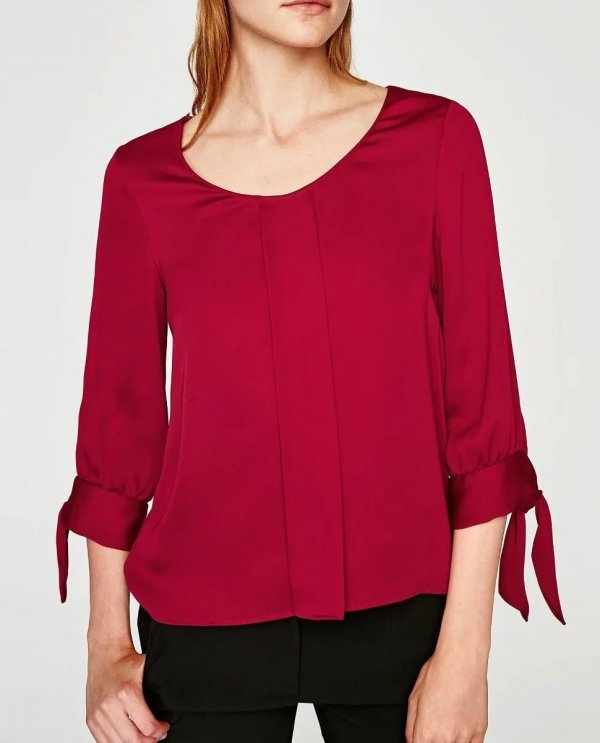 Columned Quarter Sleeve Solid Blouse - Hautify