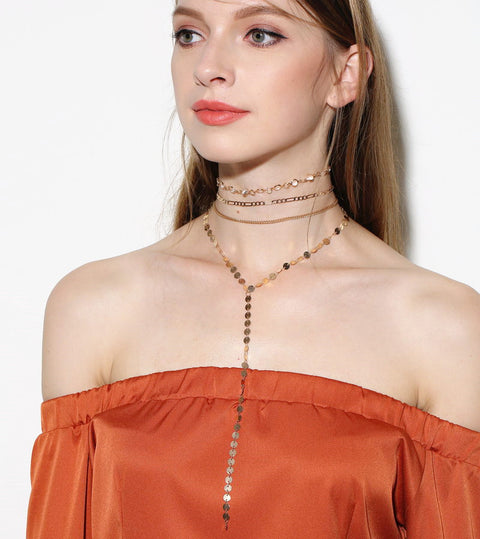 Sequins Multi Layer Choker Set - Hautify