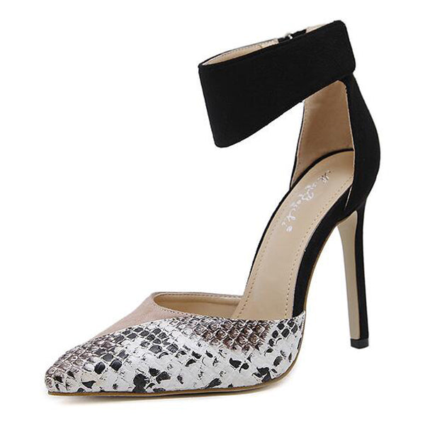 Snake Skin Suede Block Pointy Pump