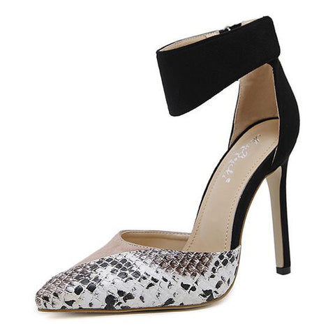 Snake Skin Suede Block Pointy Pump - Hautify