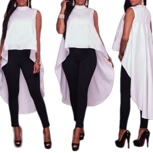 Crew Neck Asymmetrical Solid Blouse Long Tail Top