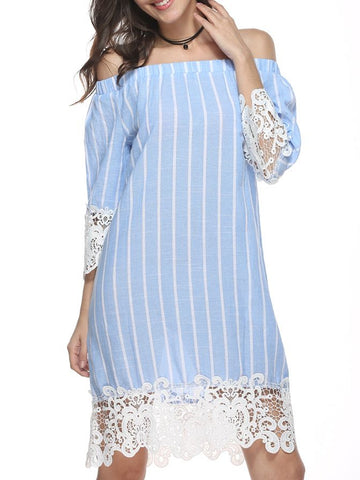 Spliced Striped Fashion Style Short Sleeve Dresses Lace Dress