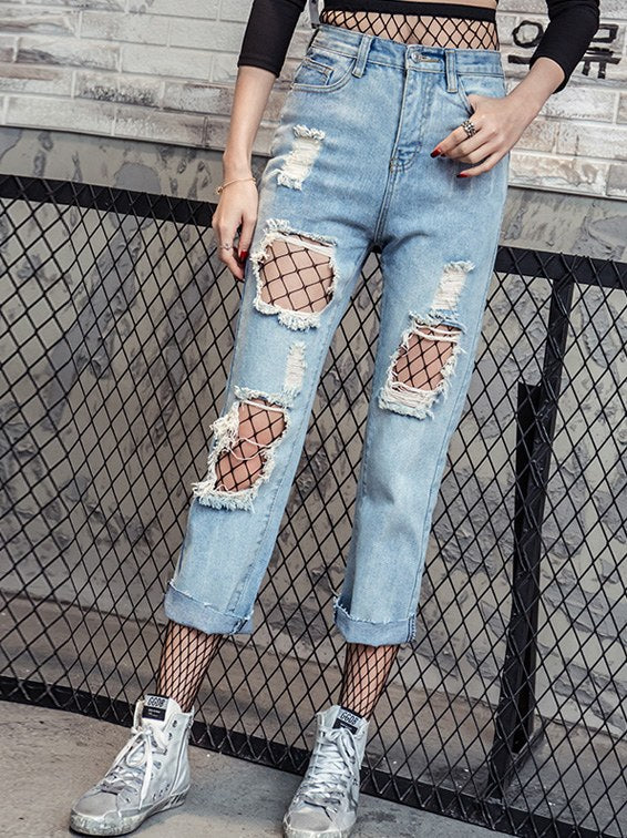 Loose Denim Holed Jeans - Hautify