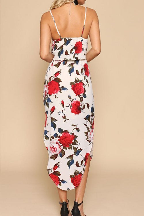 Floral Print Thin Strap Summer Dress - Hautify