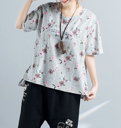 Floral Print Casual O- Neck T Shirt