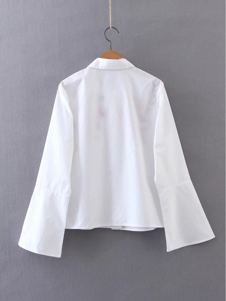 Long SLeeved Embroidered Cotton Blouse for Women - Hautify