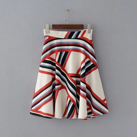 Womens Striped  Flair Skirts - Hautify