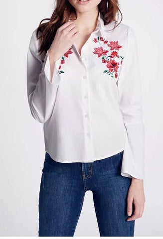 Long SLeeved Embroidered Cotton Blouse for Women