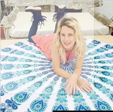 Peacock Tablecloth Round Beach Towel - Hautify