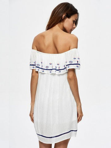Ruffled Boho Womens Off Shoulder Dress White