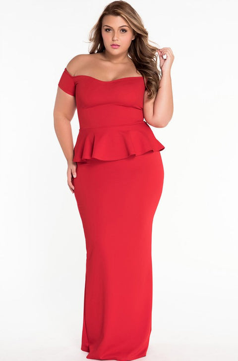 Off Shoulder Solid Womens Bodycon Maxi Dress - Hautify