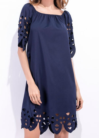 Off Shoulder Fashion Style Short Sleeve A-line Cut-out Less Chiffon Dresses