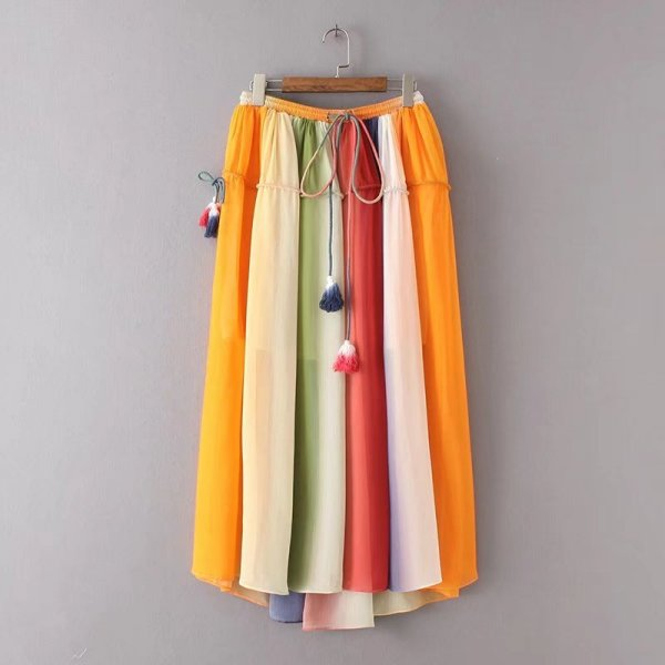 Colorful Fashion Fringe Tassel Long Striped Skirt - Hautify