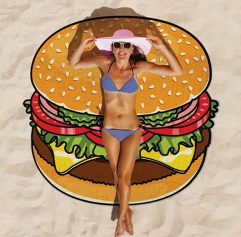 Classic Burger Round Beach Towel Blanket - Hautify