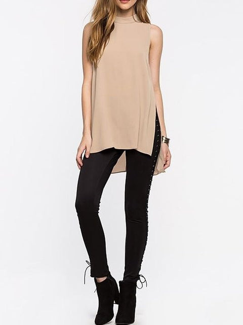 Asymmetrical Hem Spliced Pullovers Chiffon Loose Solid O-neck Tops - Hautify